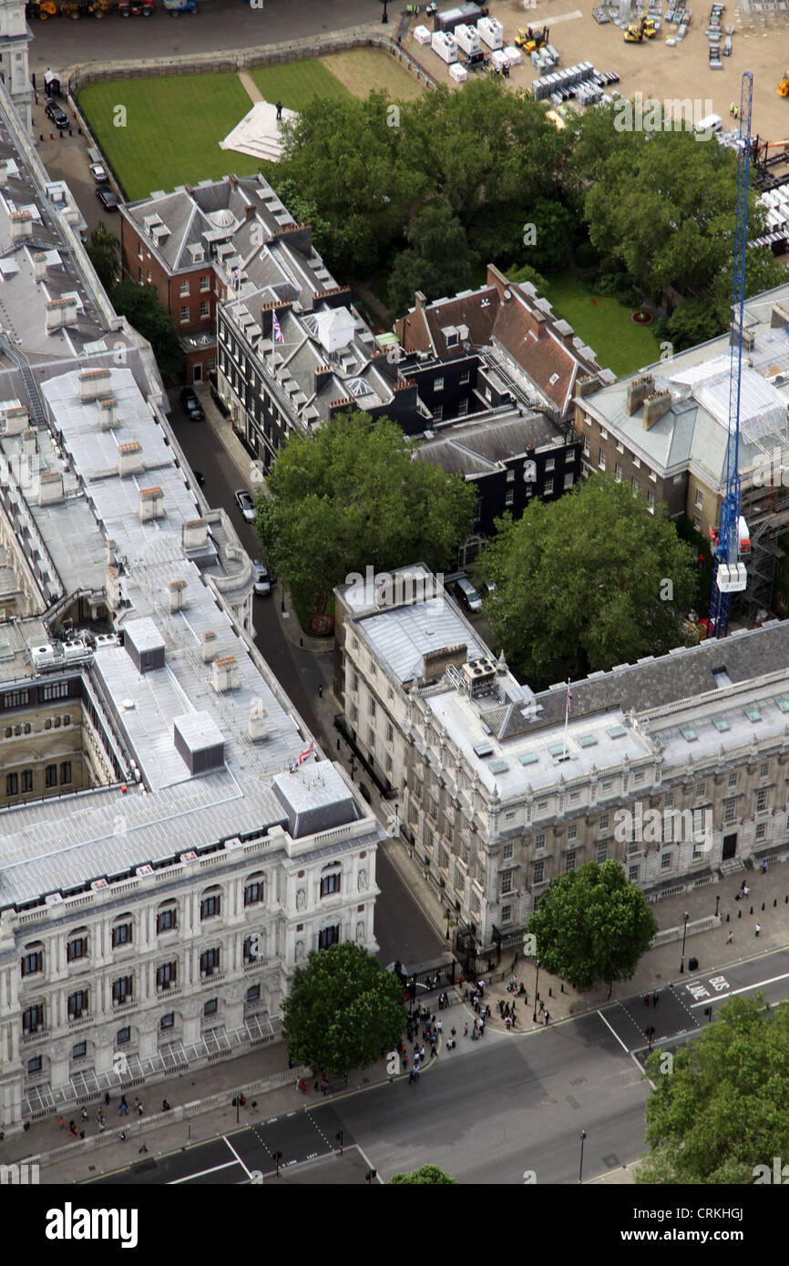 aerial view of Downing Street, London SW1 - Stock Image