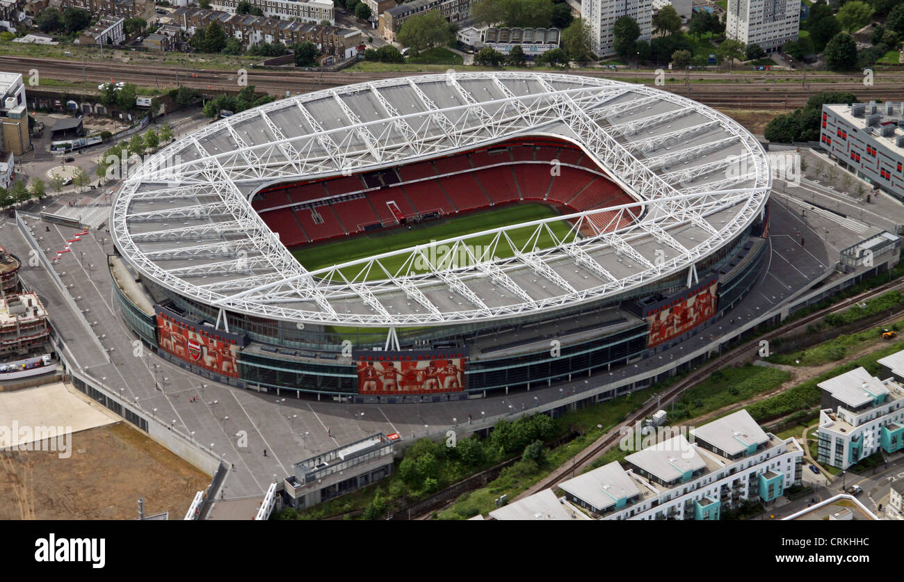 aerial view of Arsenal FC Emirates Stadium, London N5 - Stock Image