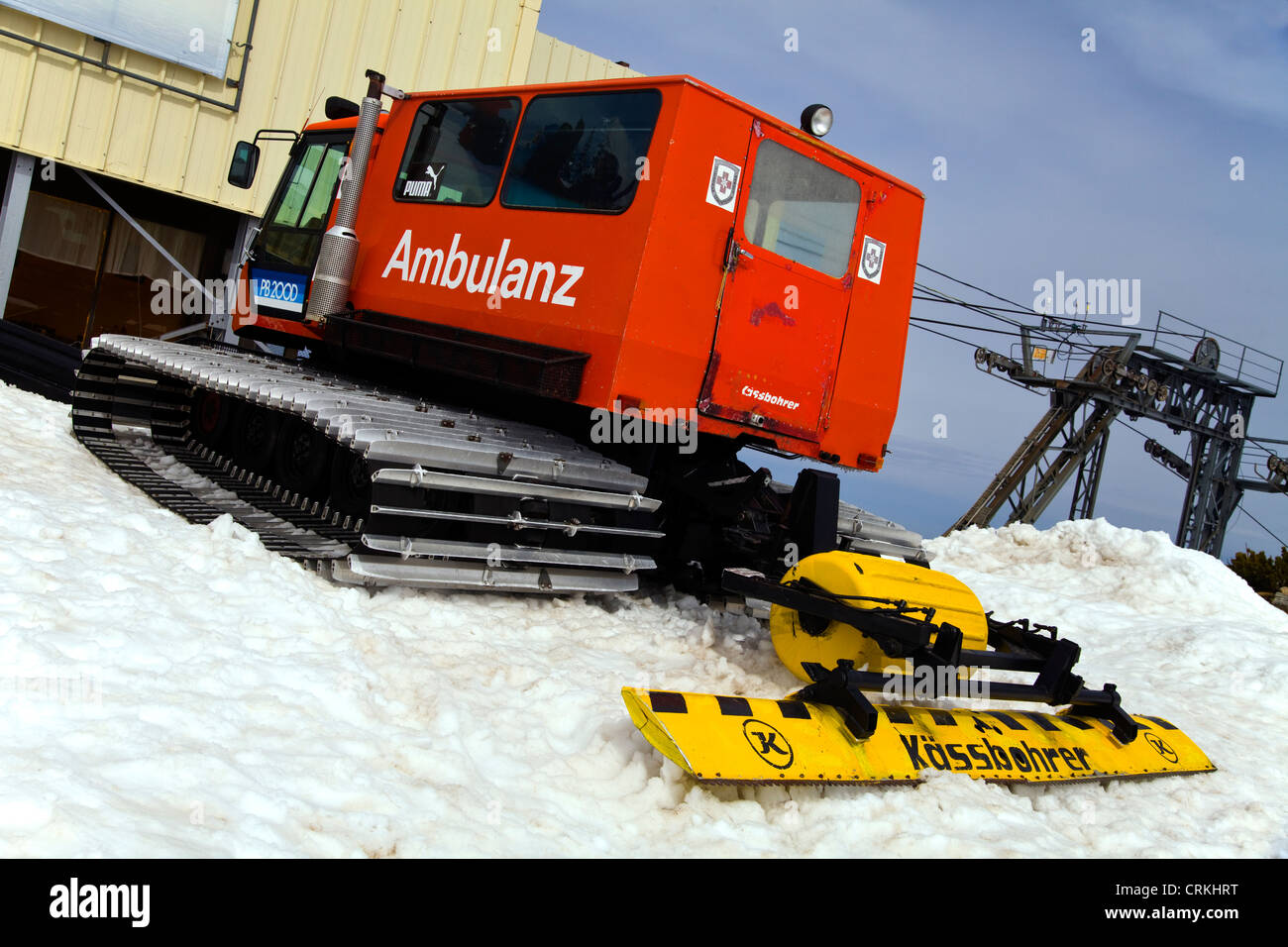 A Snow Cat ambulance in the mountains of the Pirin National Park - Stock Image