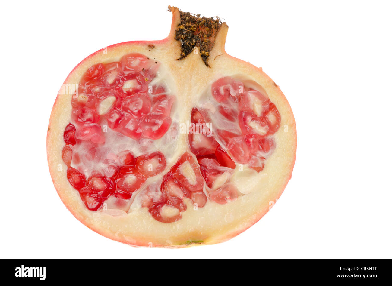 Fresh ripe pomegranate that has been sliced in half - studio shot with a white background - Stock Image