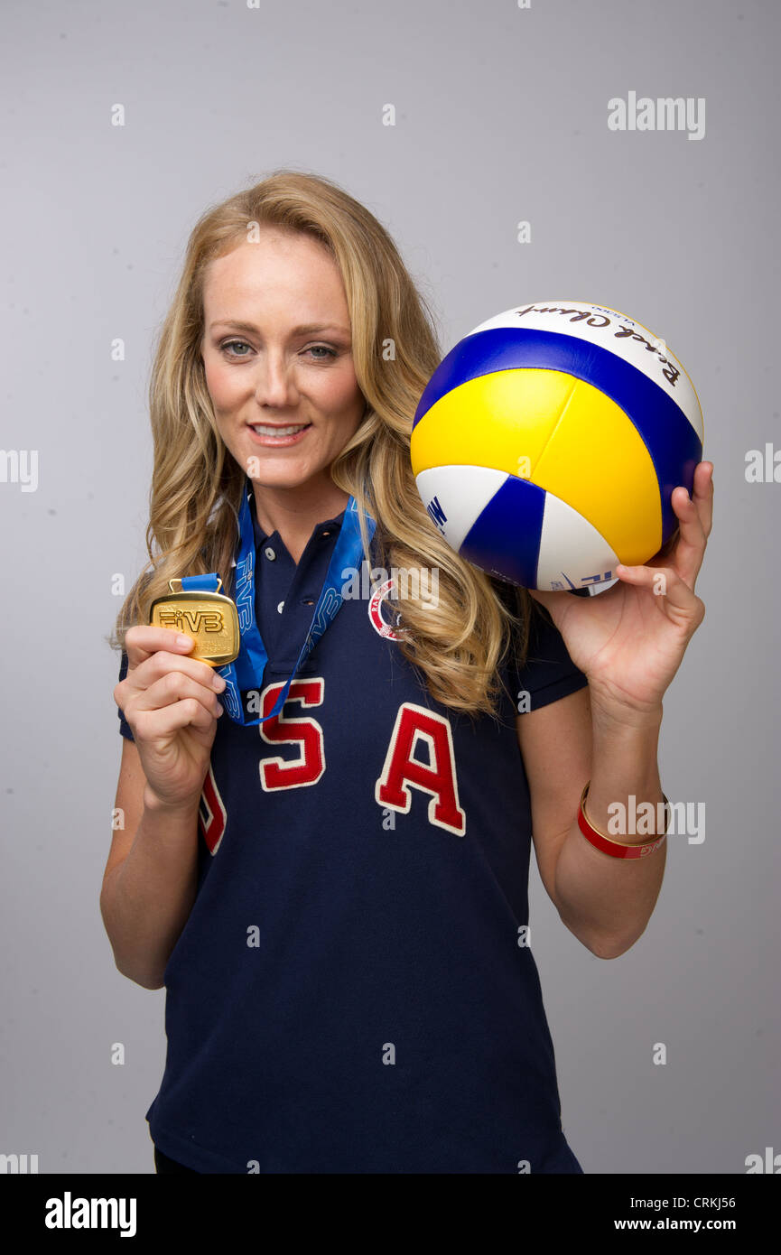 American beach volleyball player Jen Kessy at Team USA media summit in Dallas, prior to the 2012 Summer Olympics - Stock Image