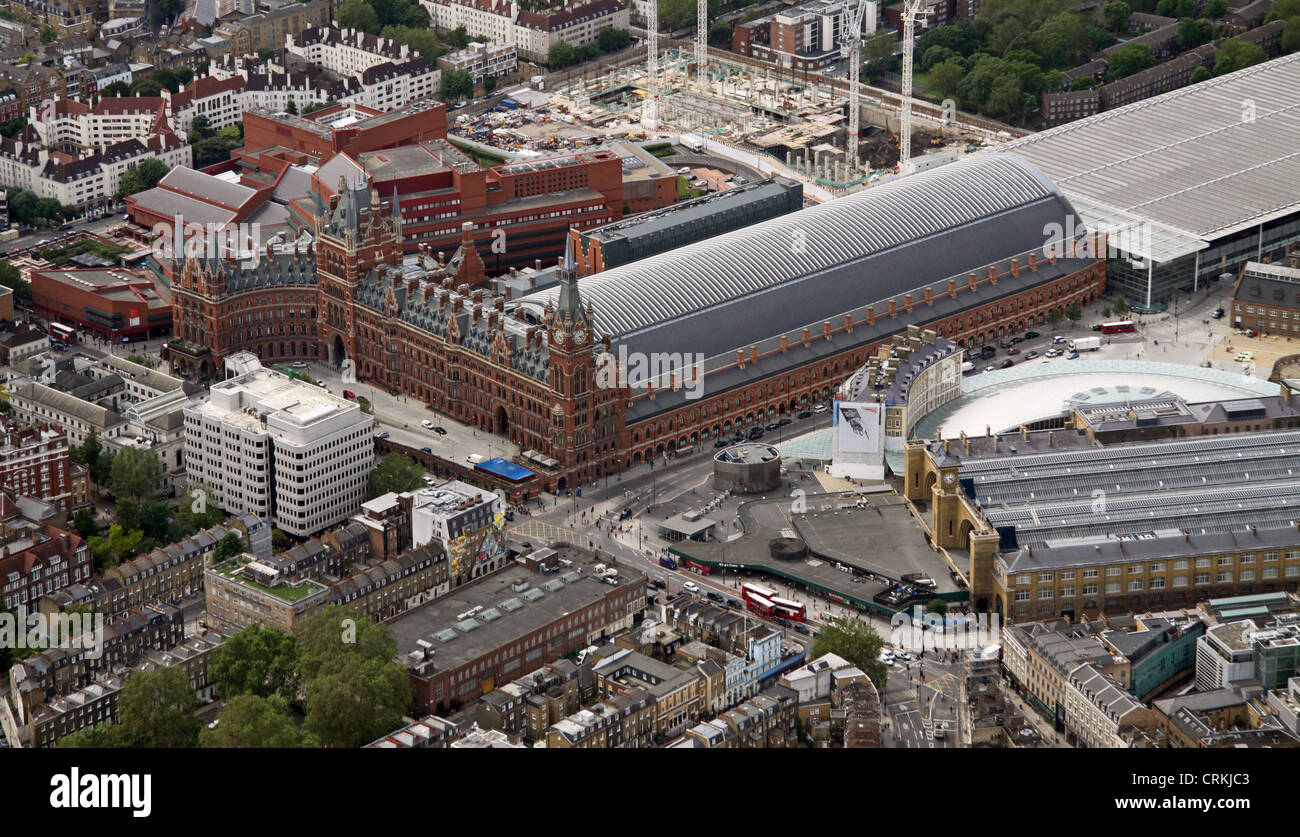 aerial view of St Pancras and Kings Cross Station, London N1 - Stock Image