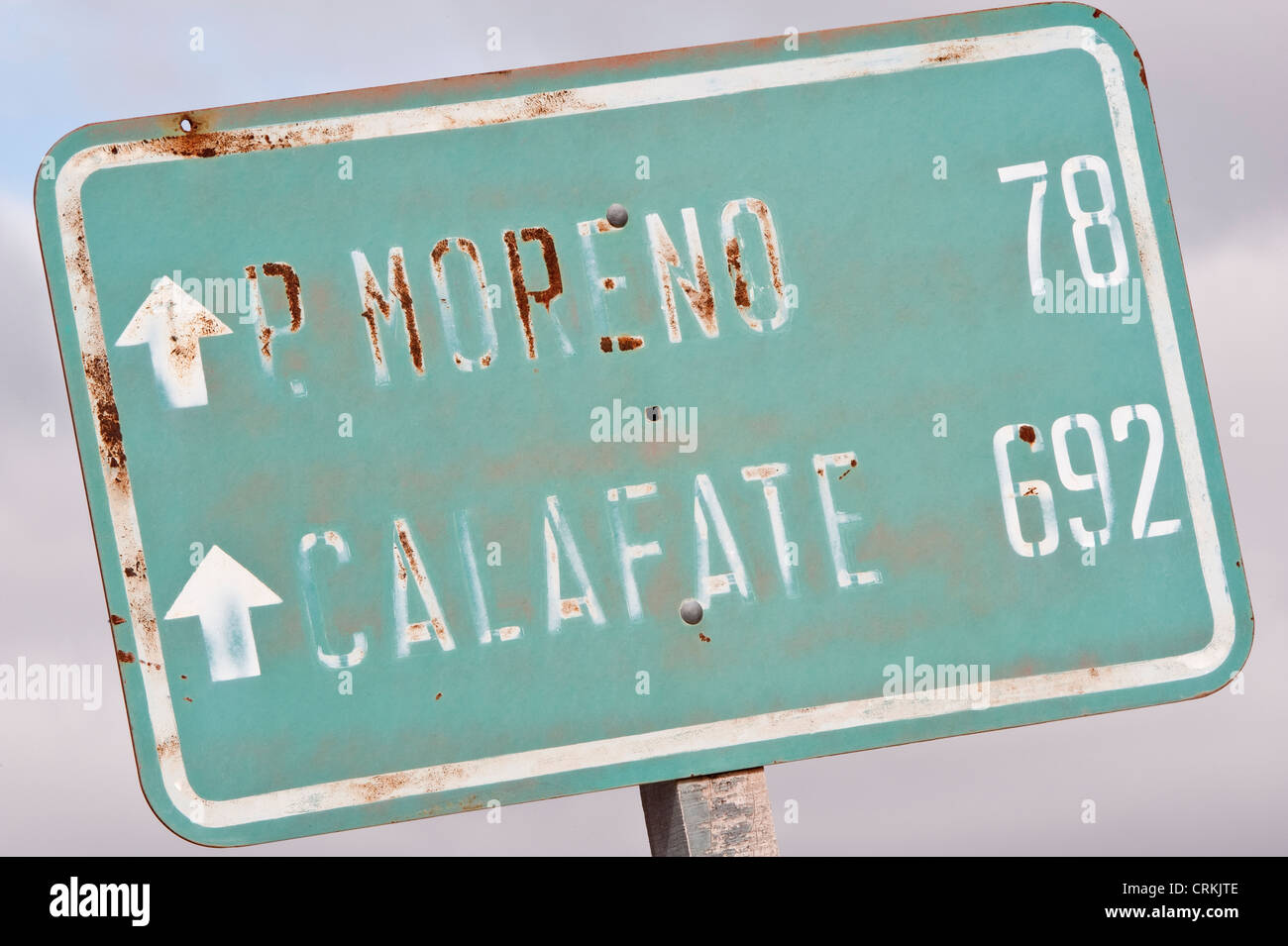 Road sign with distances Route 40 Park Prov. Chubut Argentina South America November - Stock Image