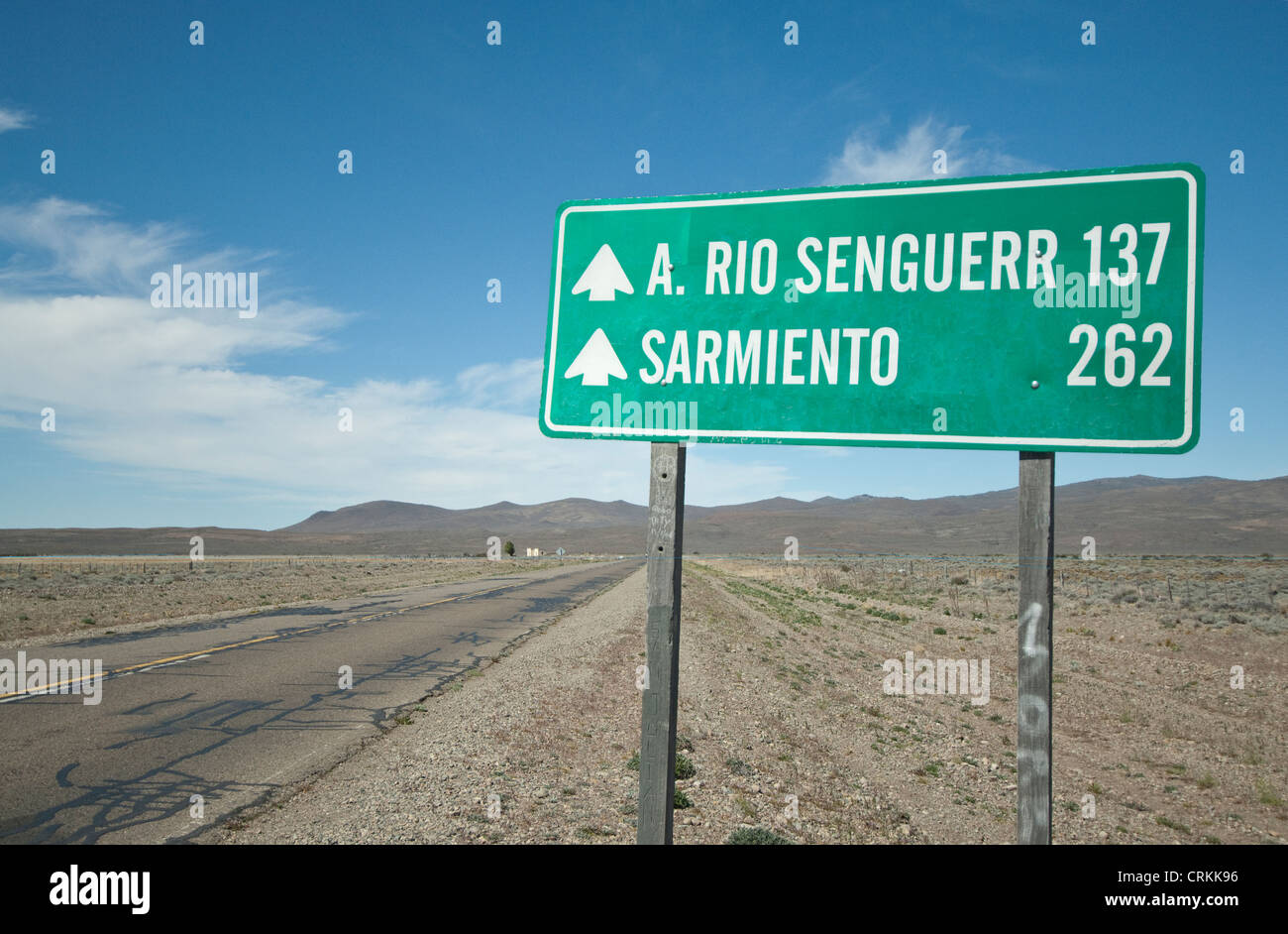 Route 40 sign with town distances in km Chubut Provence, Patagonia, Argentina - Stock Image