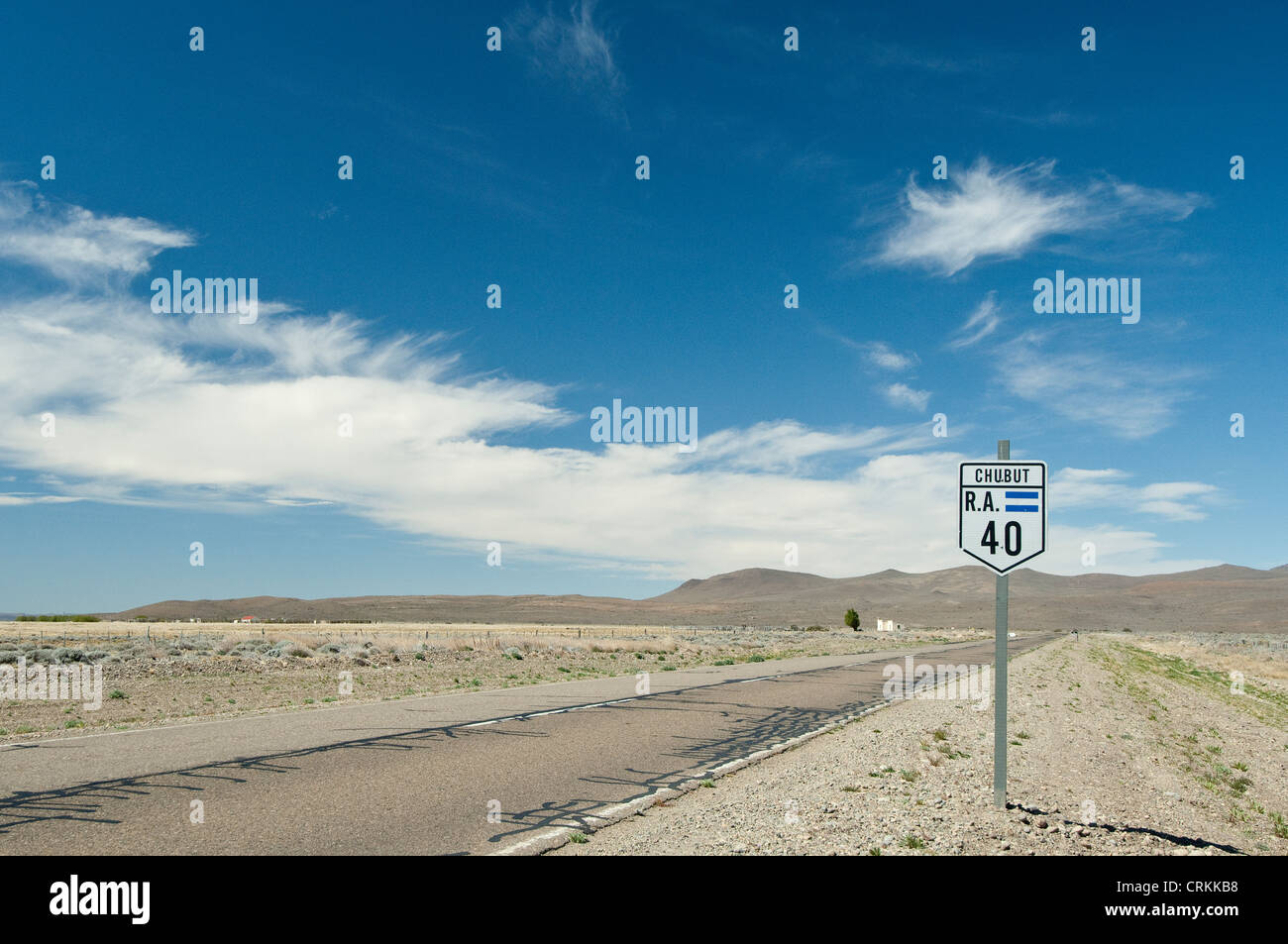 Route 40 road sign Chubat Province Patagonian steppe Argentina South America - Stock Image