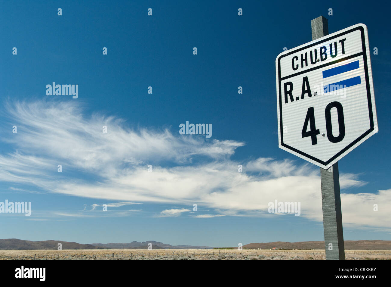 Route 40 road sign Chubut Provence, Patagonia, Argentina, South America - Stock Image