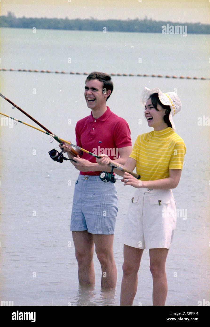 Julie and David Eisenhower fishing in Key Biscayne, Florida. - Stock Image