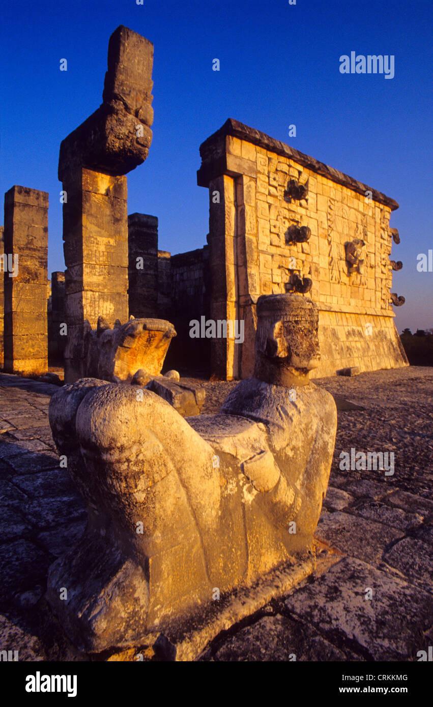 Chac-Mool (Mayan Rain God) statue. Temple of the Warriors. Chichen Itza. Yucatan. Mexico - Stock Image