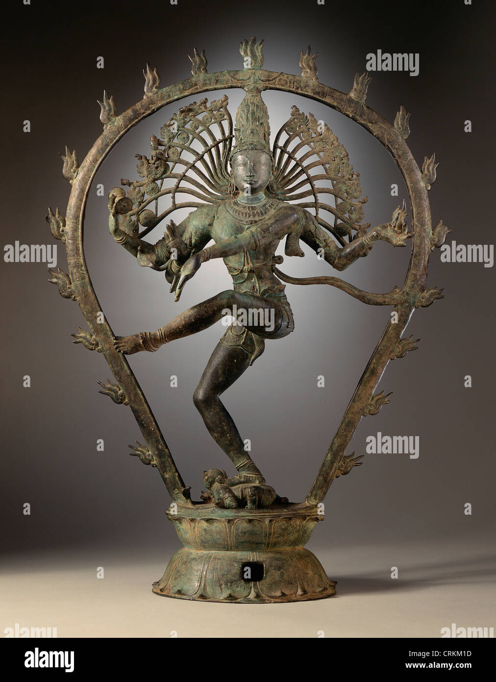 Sculpture of Shiva in copper alloy from India (Tamil Nadu). - Stock Image
