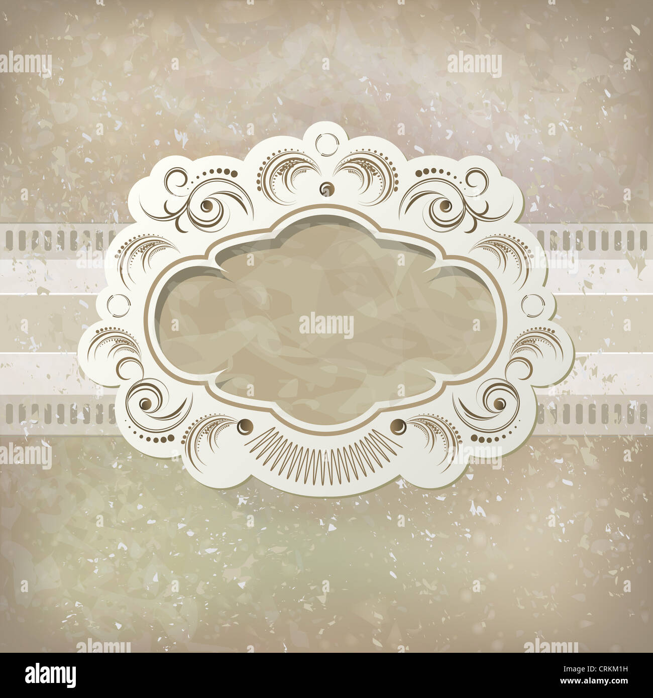 Vintage background with scrapbook frame for invitation, announcement or menu. Graphic style, sepia tones - Stock Image