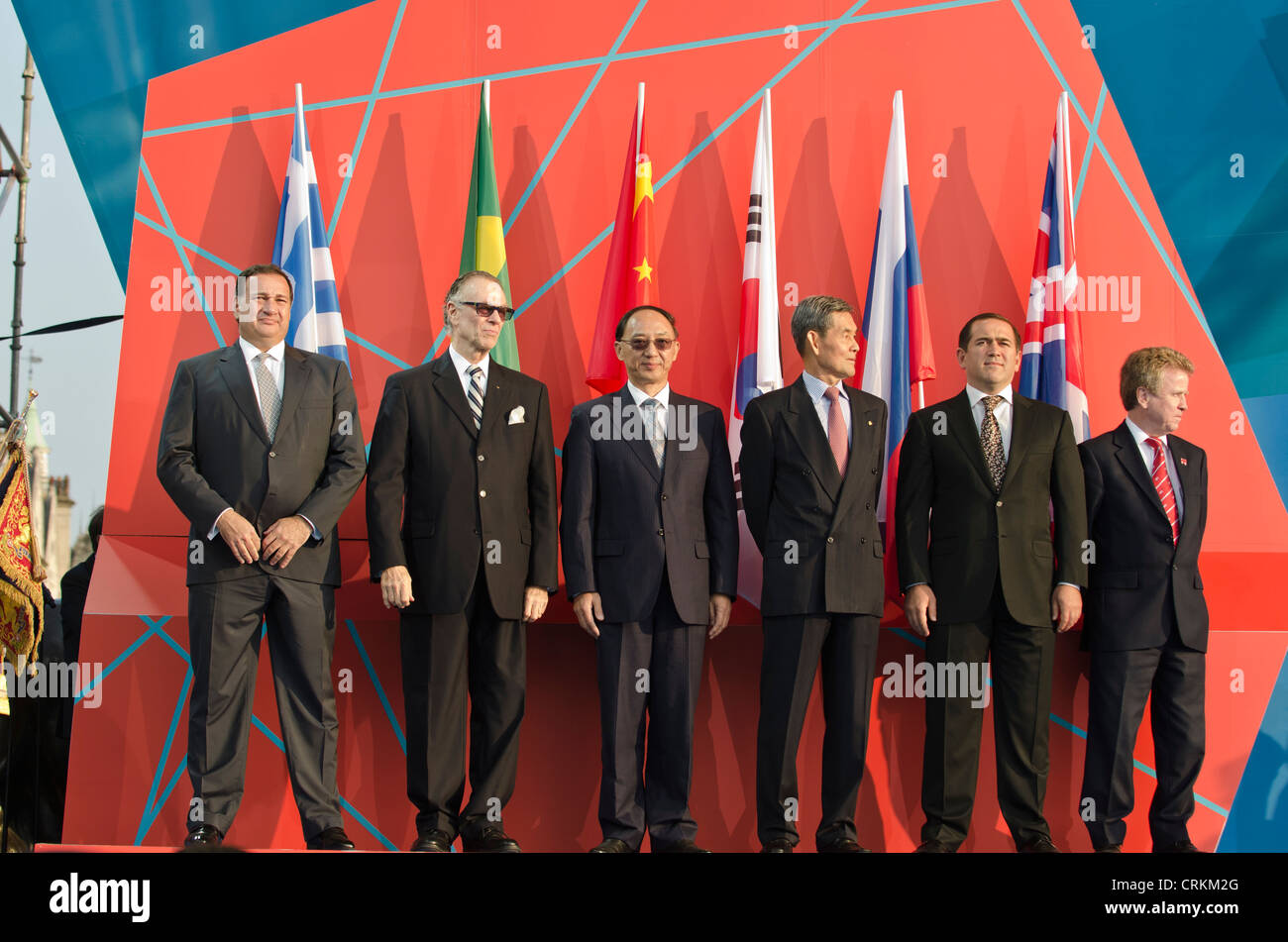 Olympic officials from different countries ' 1 year to go to'  London 2012 Olympics Trafalgar Square - Stock Image
