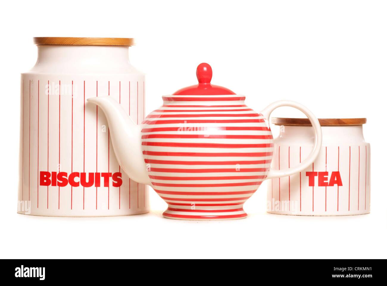 teapot and storage tins studio cutout - Stock Image
