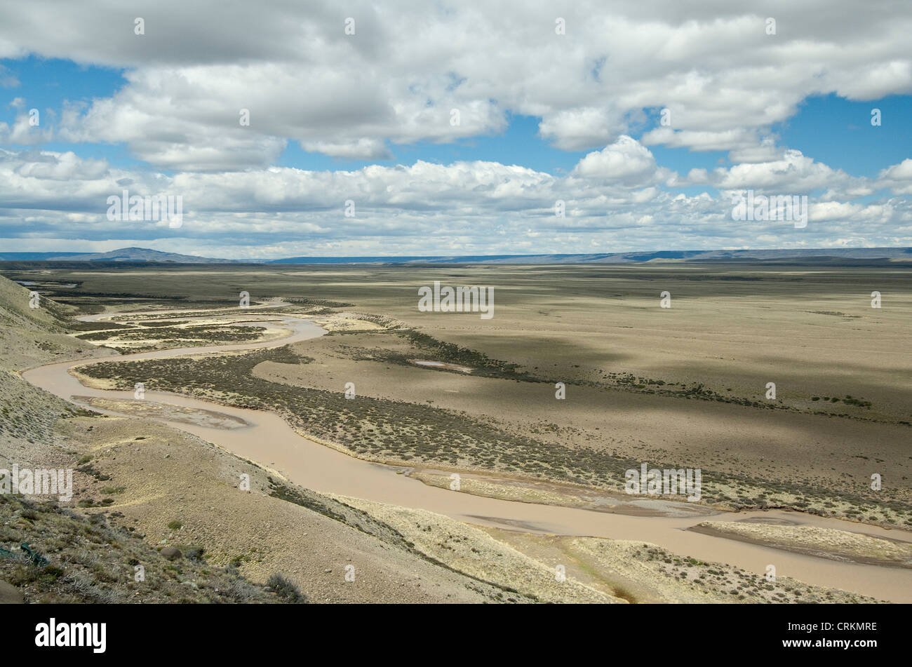 Belgrano River valley 49° 06'50 S 71°27'25 W view from Estancia Sierra Andia Santa Cruz Province - Stock Image