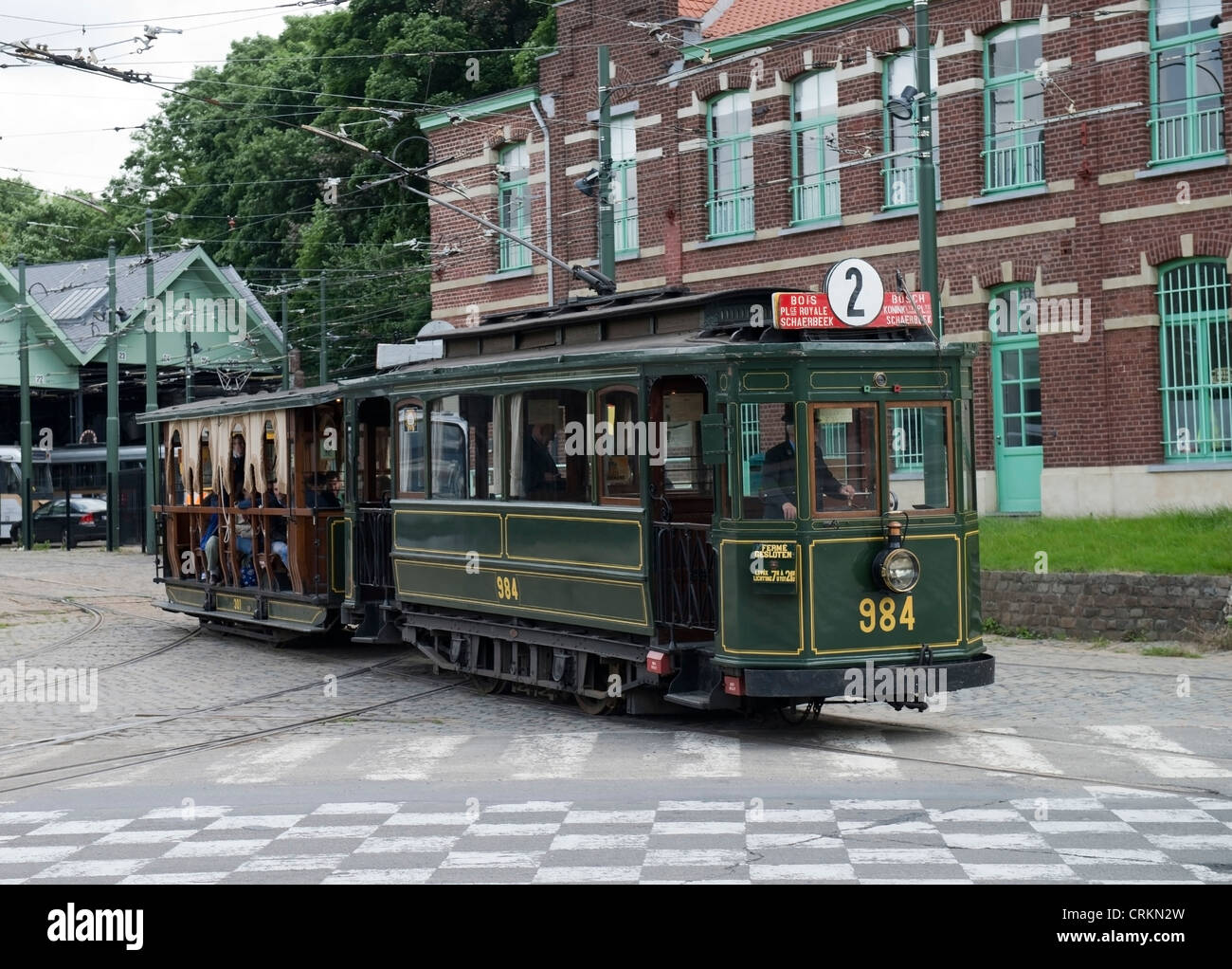 Vintage Tram No.984 with Trailer at The Tram Museum Brussels, Belgium -1 Stock Photo