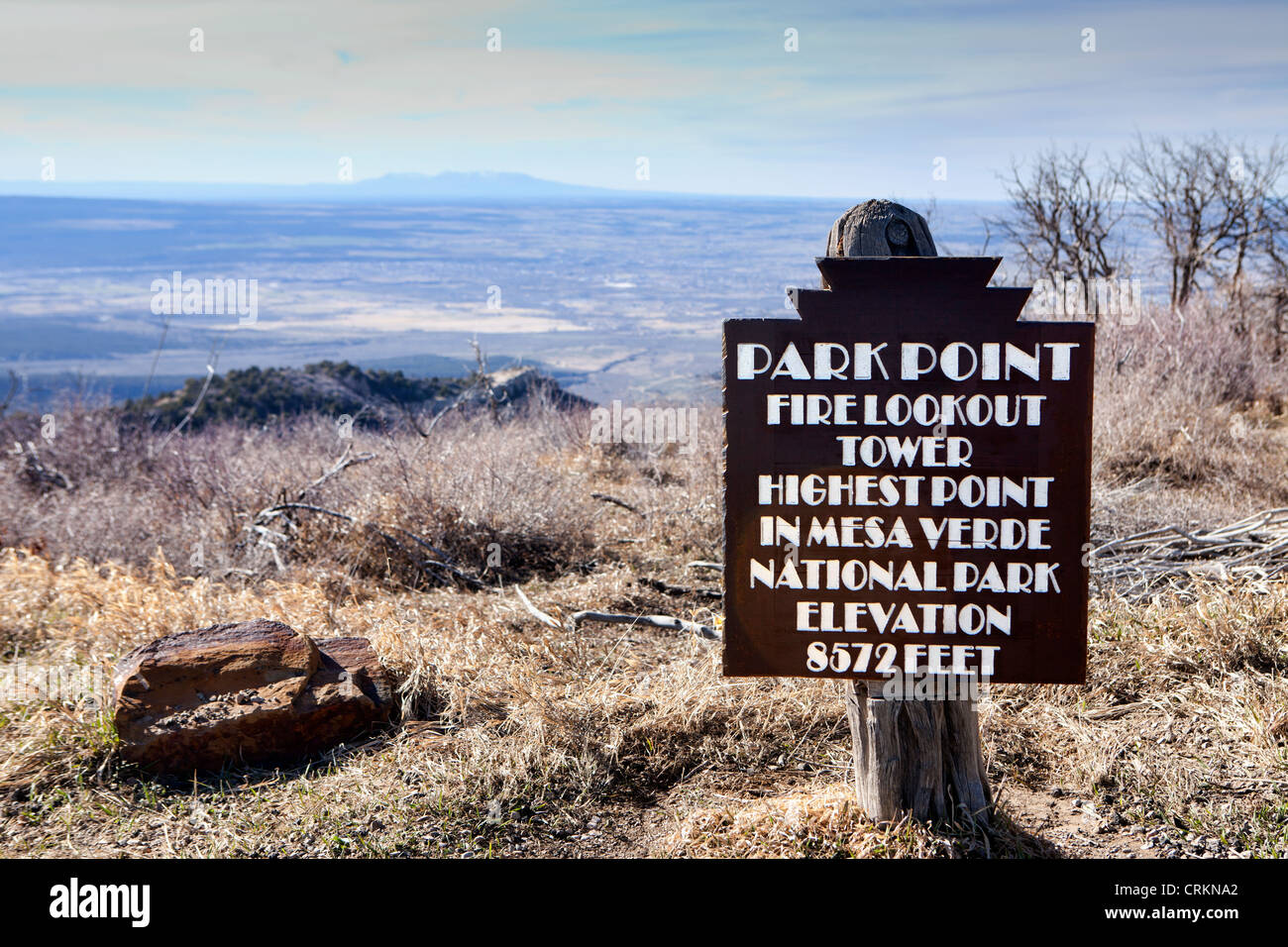 Mesa Verde National Park, Colorado, Park Point Fire lookout tower marker sign - Stock Image