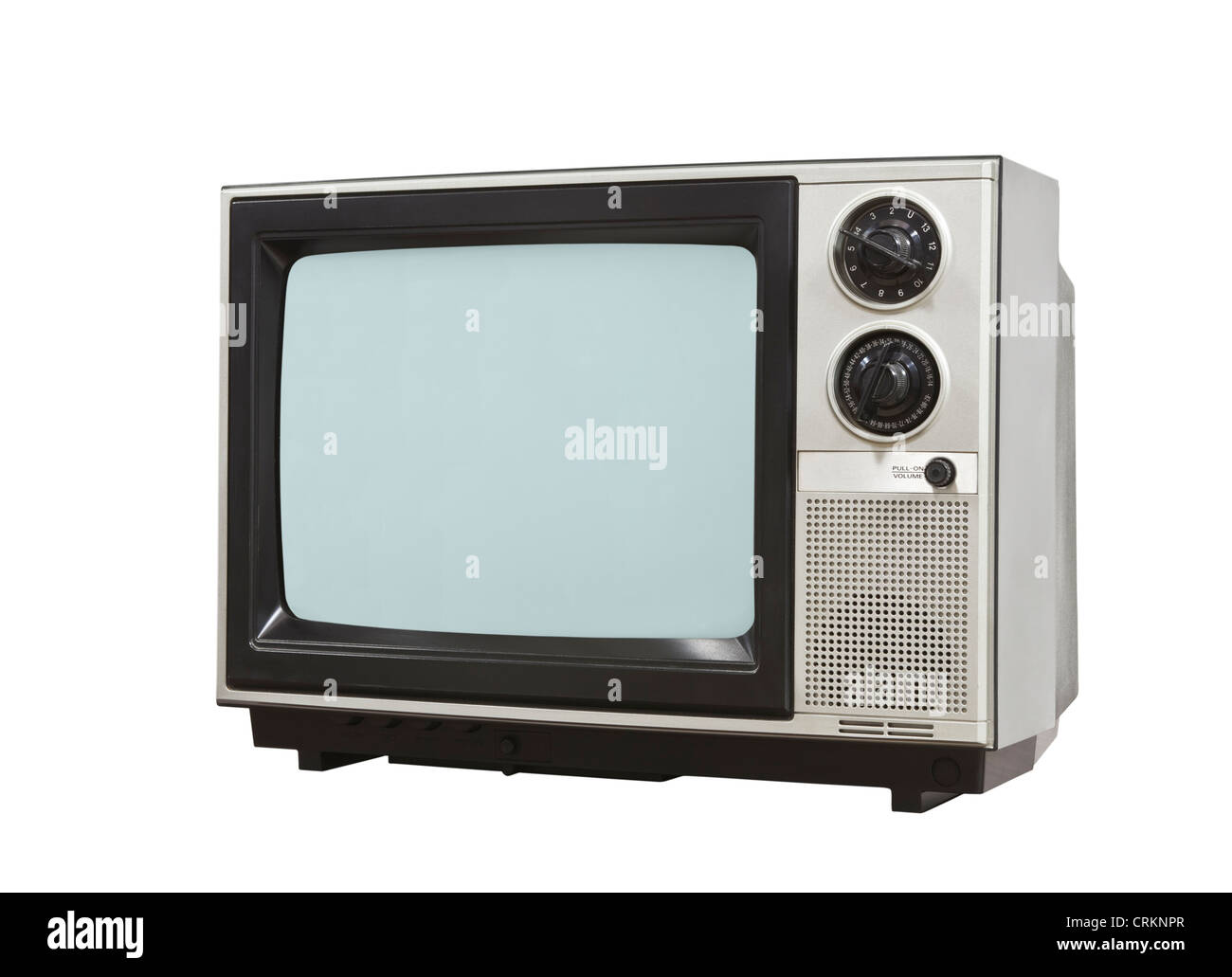 Small retro television isolated with clipping path. - Stock Image