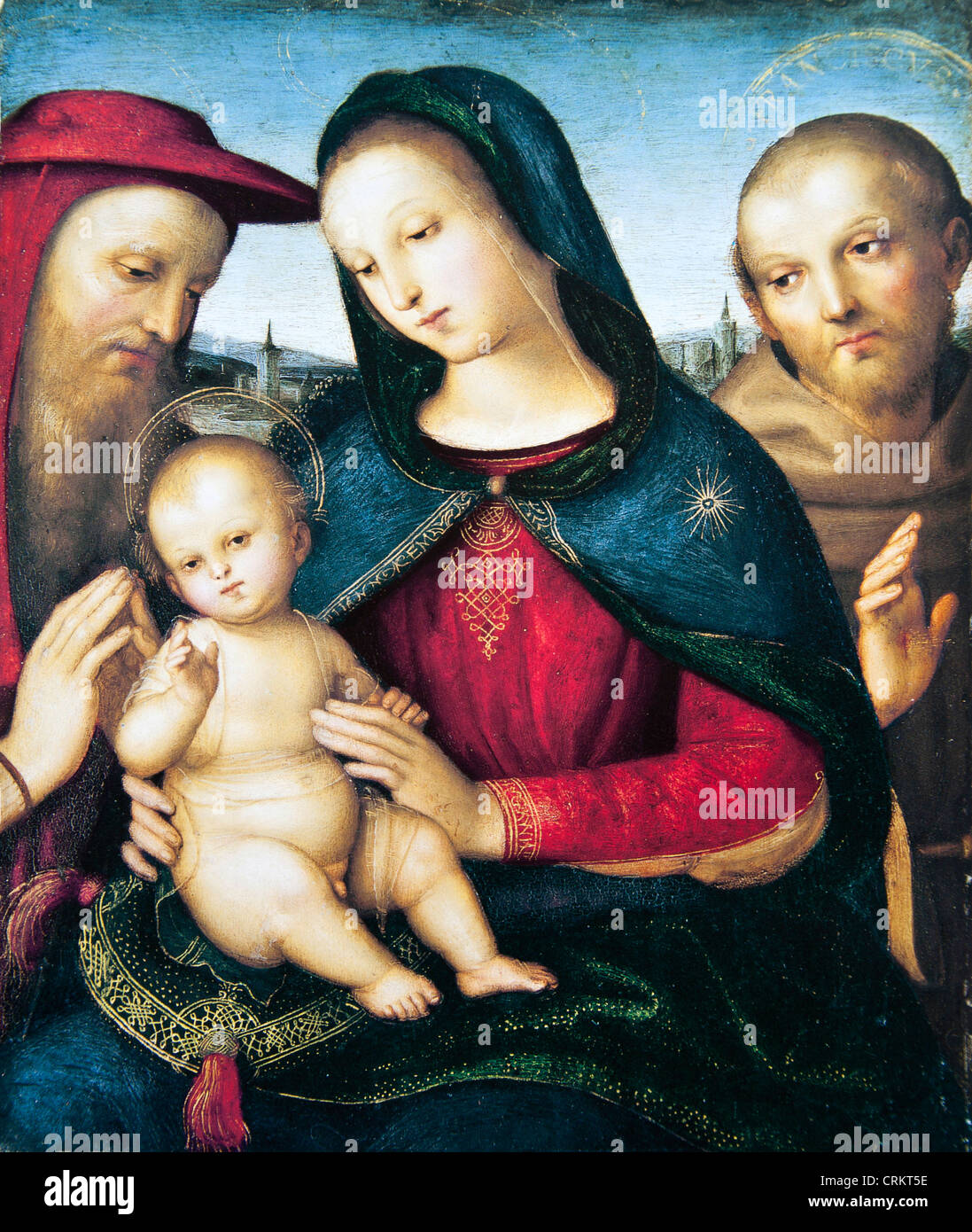 The Virgin and Child with Saints Jerome and Francis - Raphael - Stock Image