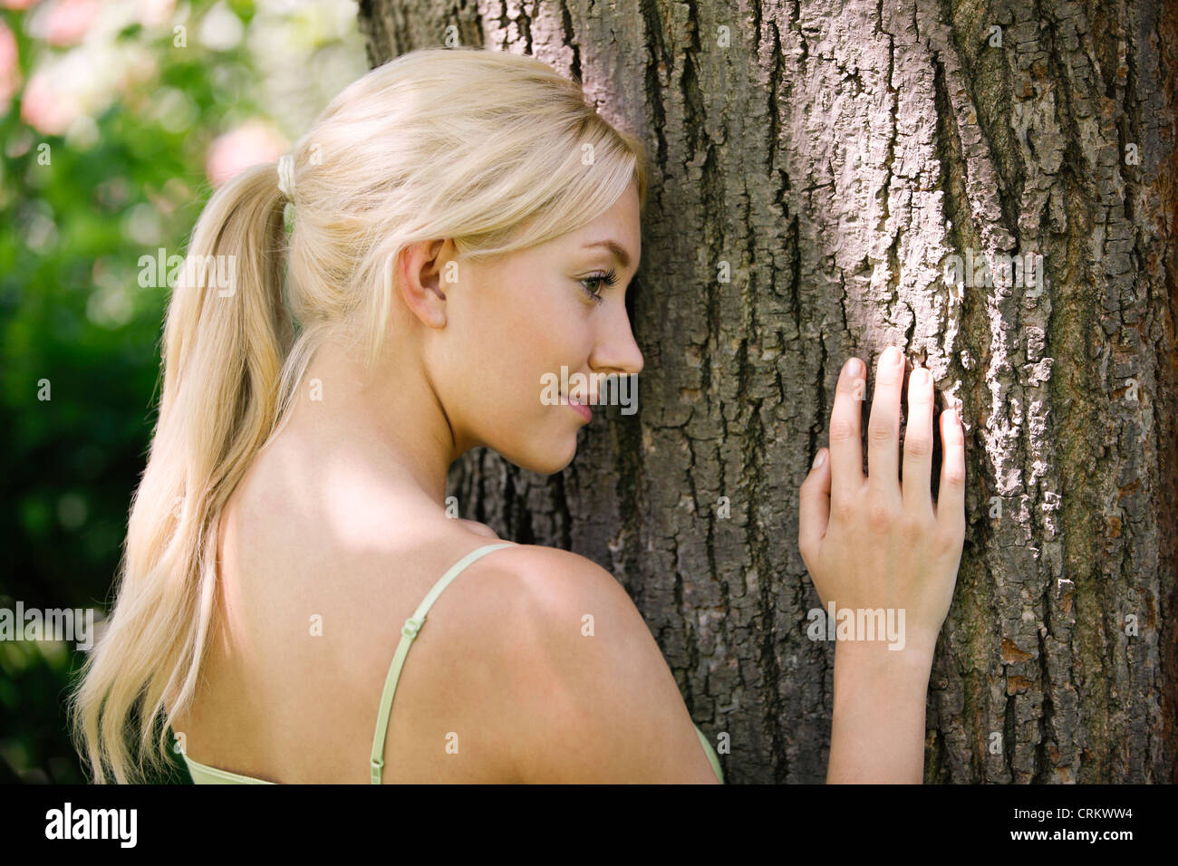 A young blonde woman leaning against a tree trunk - Stock Image