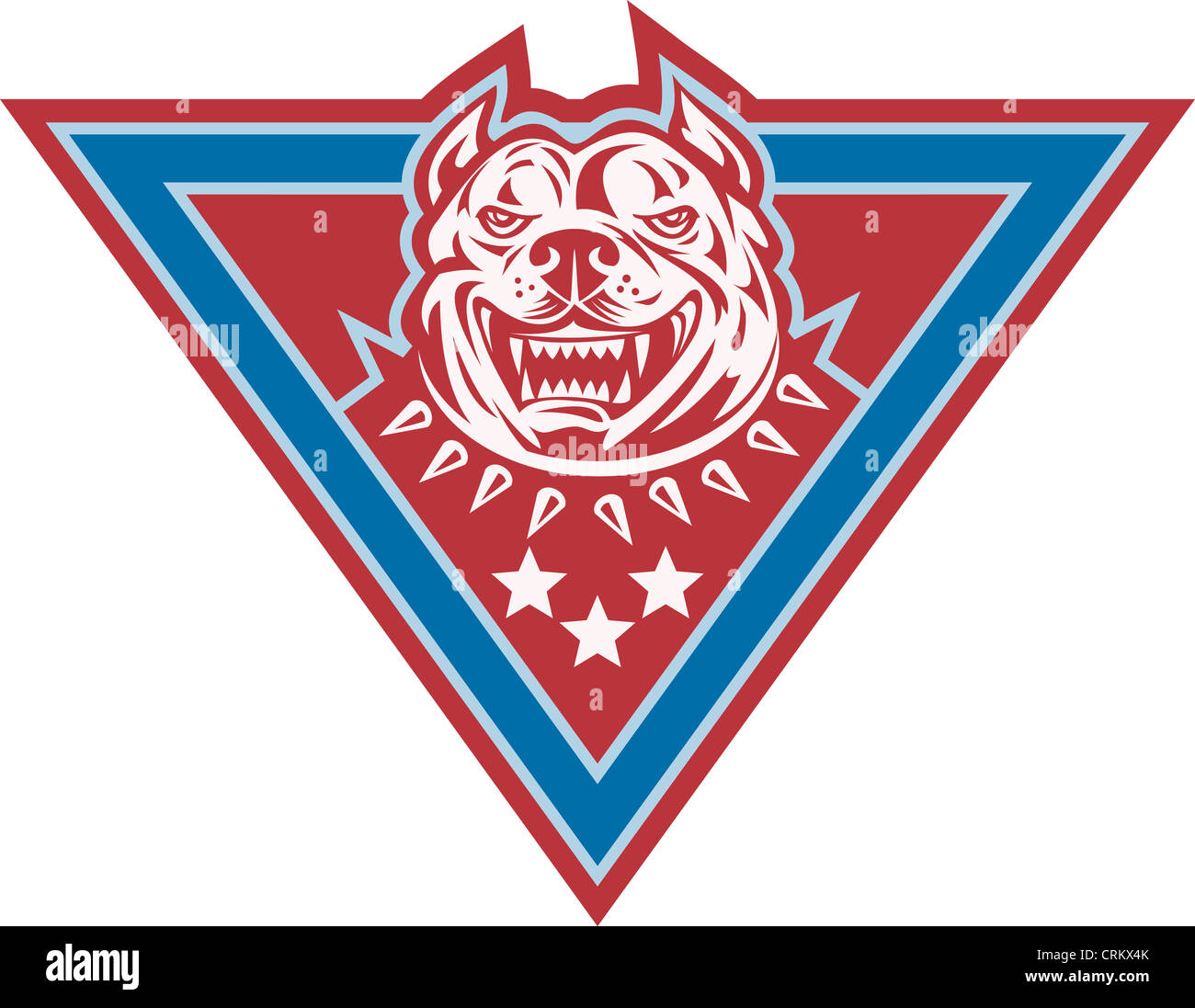 Illustration of a pitbull mongrel pet dog canine head viewed from front with stars set inside triangle done in retro - Stock Image