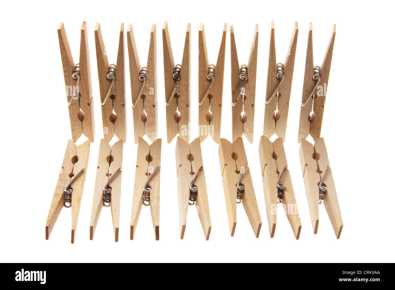 Wooden Clothes Pegs - Stock Image
