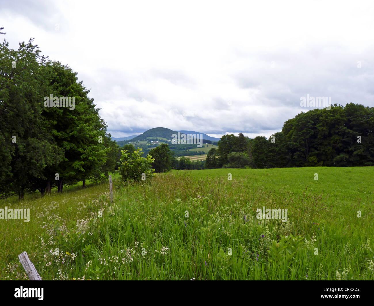 View of Northeast Kingdom in rural Vermont, Peacham Vermont, USA - Stock Image
