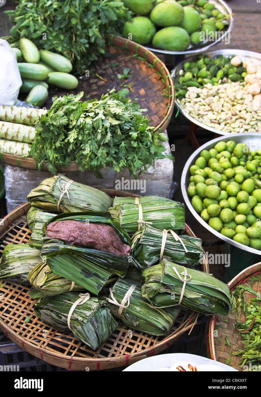 Food and vegetable stalls in a Market,Yangon,Burma - Stock Image