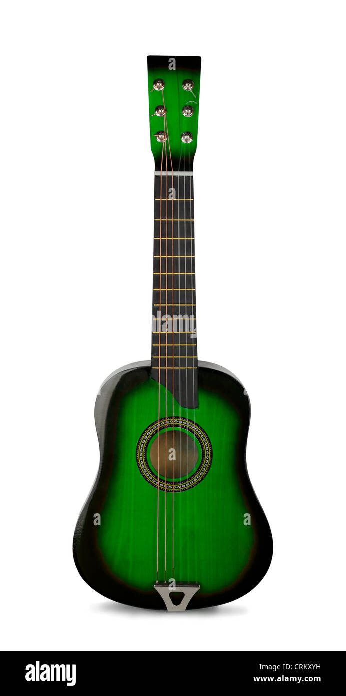 Green wooden acoustic guitar isolated on white - Stock Image