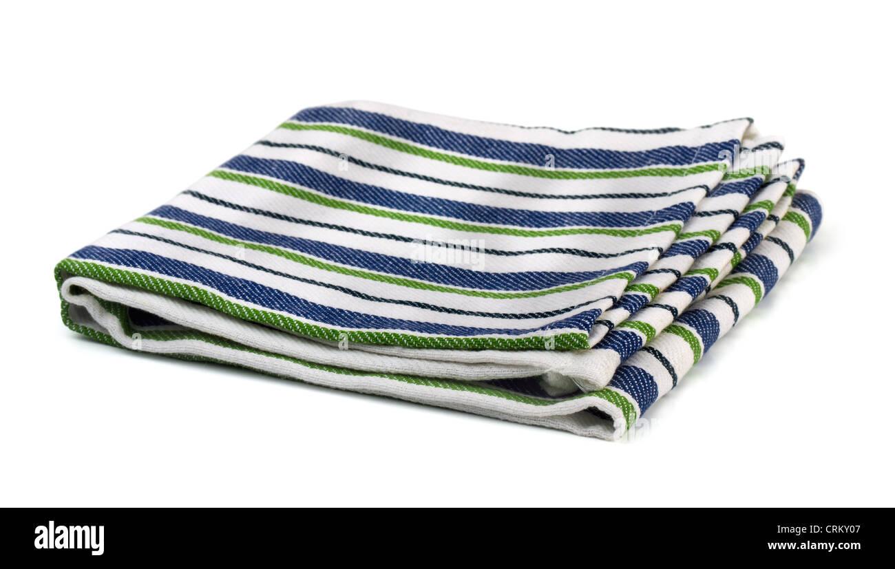 Striped textile kitchen napkin isolated on white - Stock Image