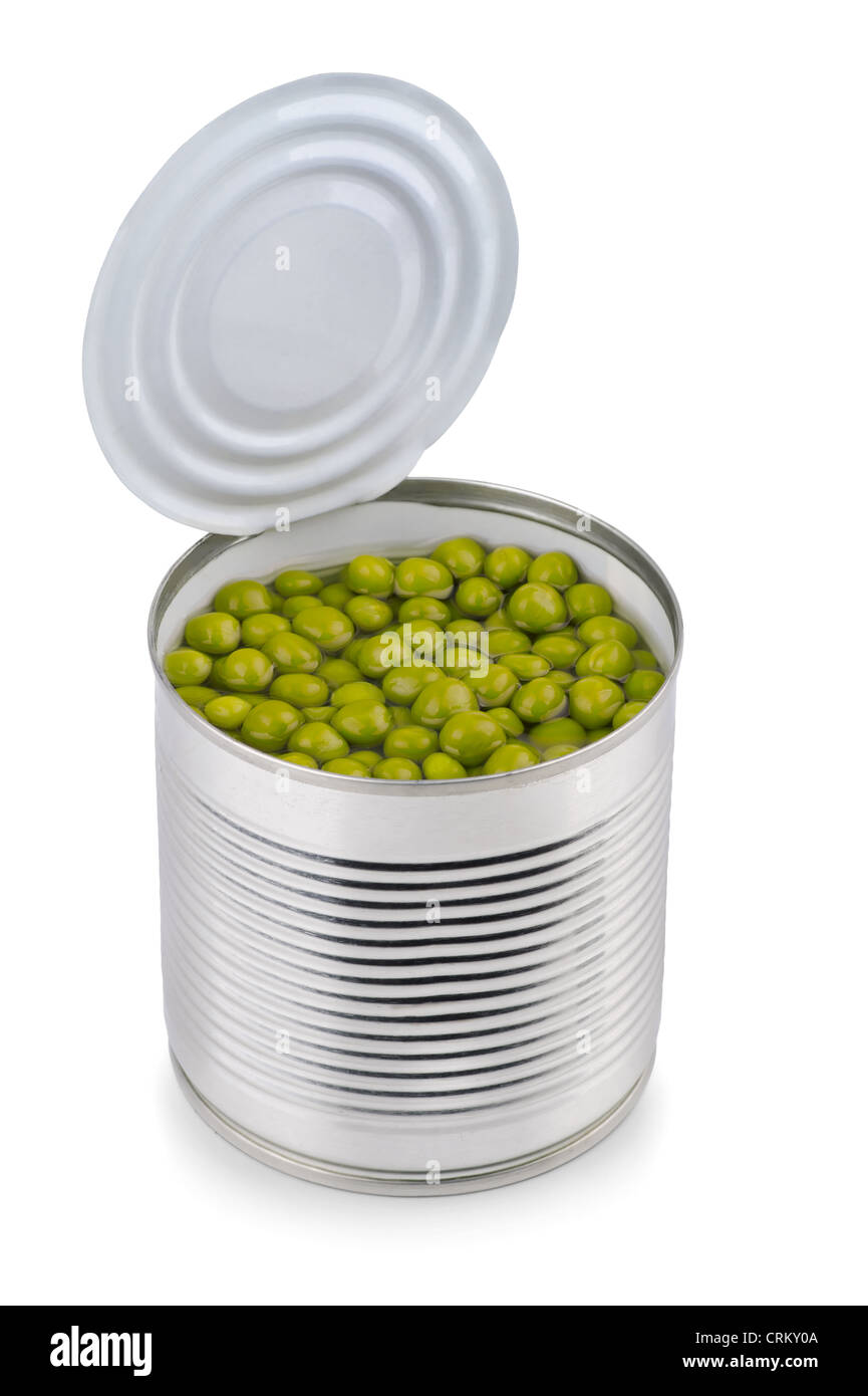 Canned green peas isolated on white - Stock Image