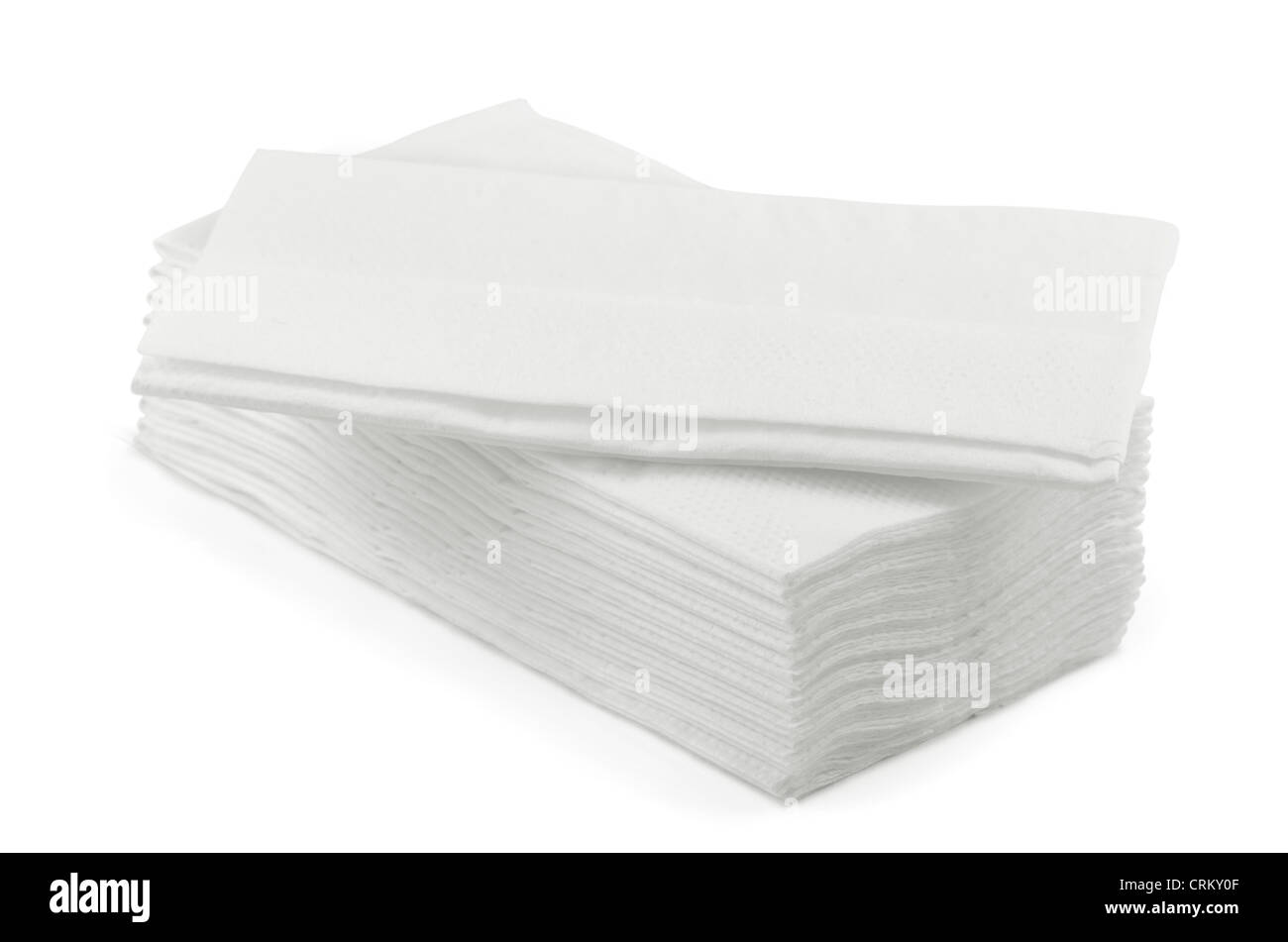 Stack of white l tissue paper isolated on white - Stock Image