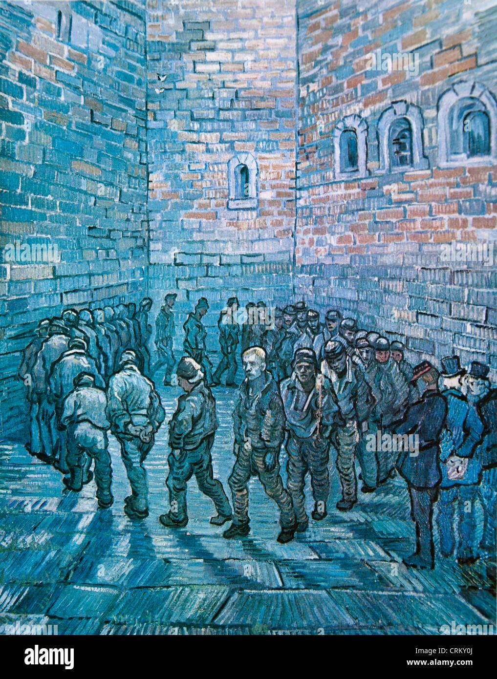 Prisoners' Round - Van Gogh - Stock Image