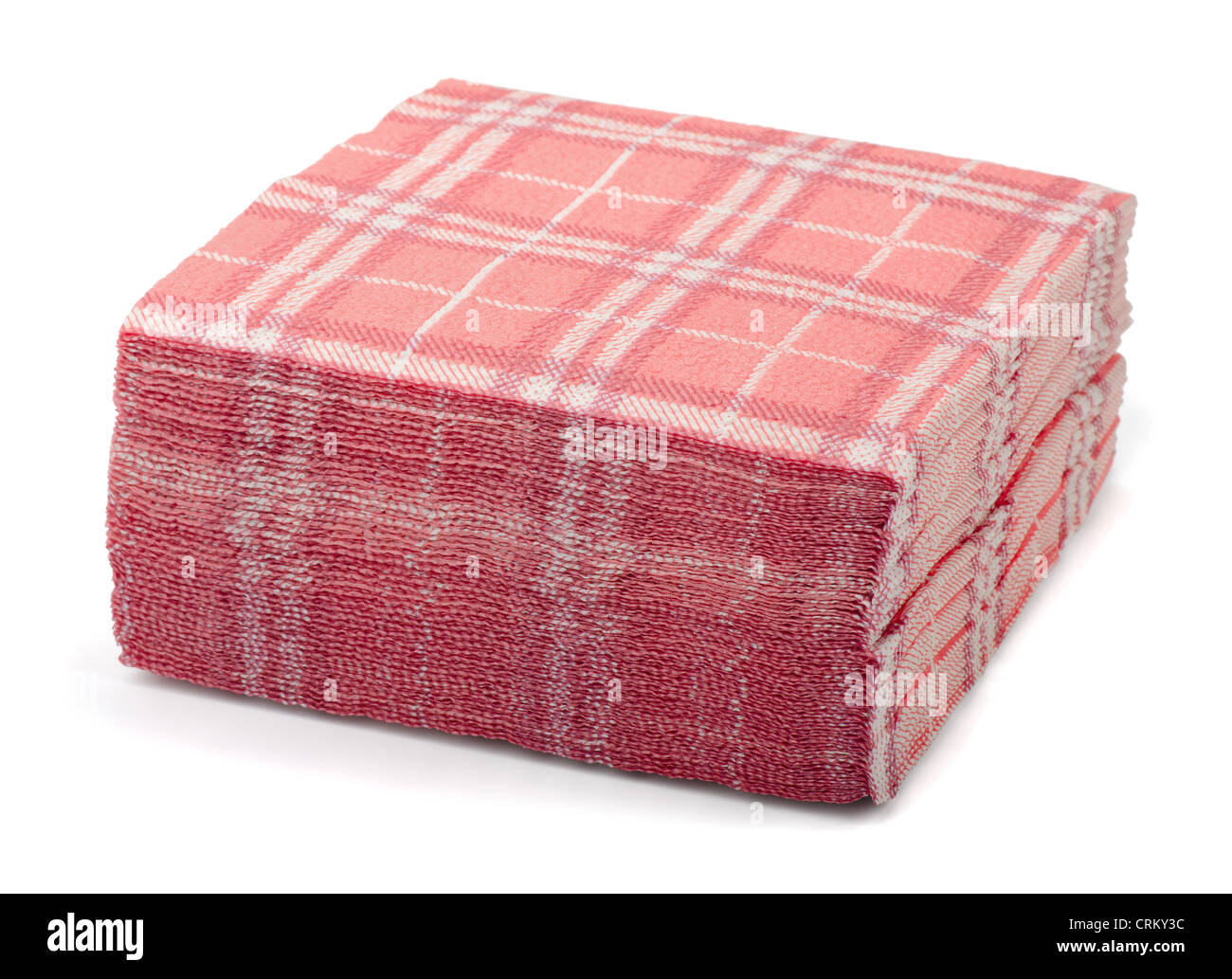 Stack of pink paper napkins isolated on white - Stock Image