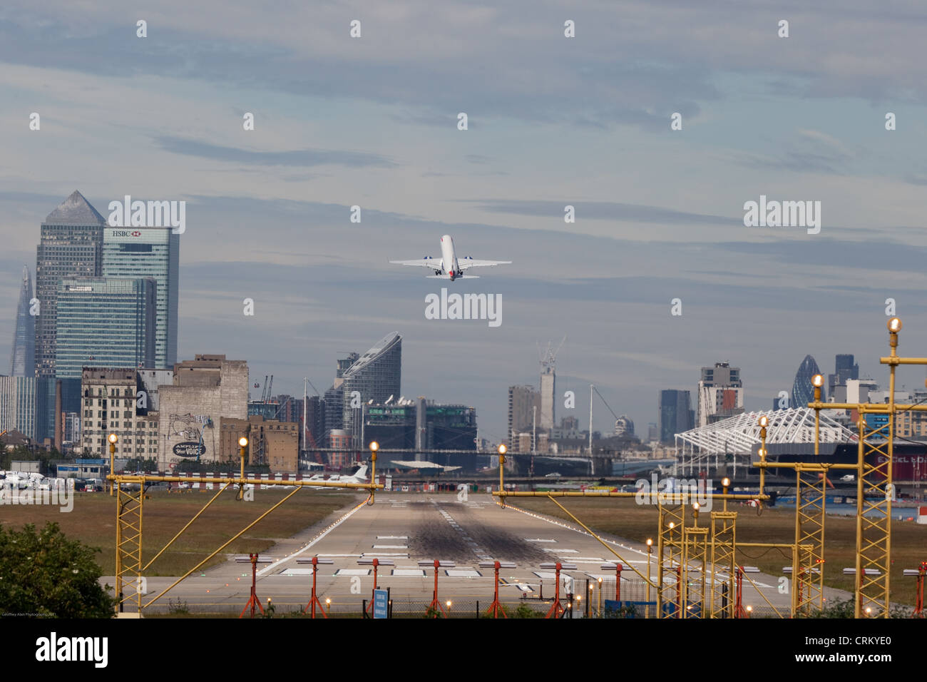 Jet taking off London City Airport Stock Photo