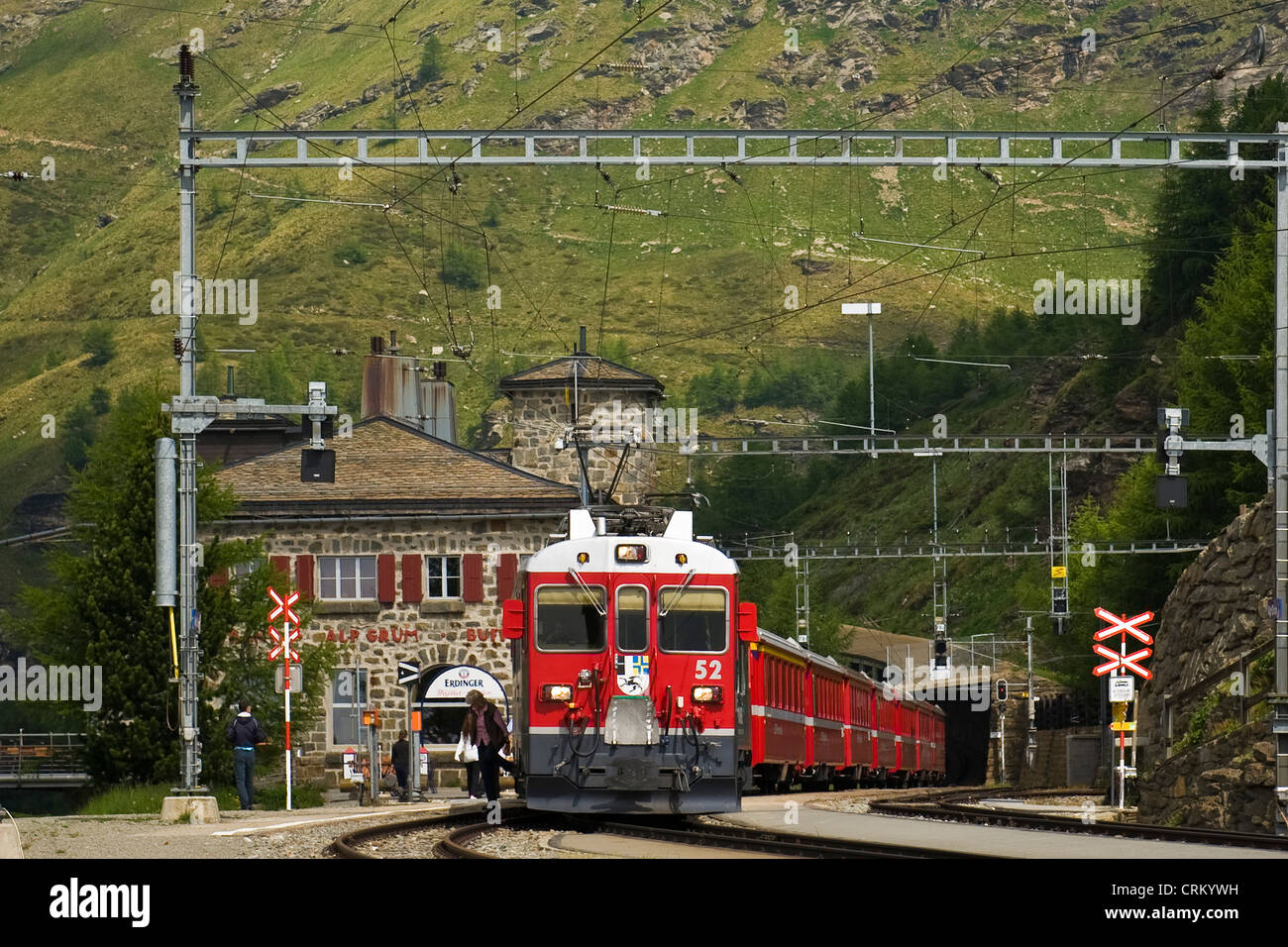 Switzerland, Canton Grisons, Bernina express, Alp Grum railway station - Stock Image