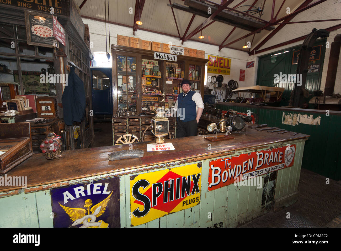 The Garage, Beamish Open Air Museum, County Durham - Stock Image