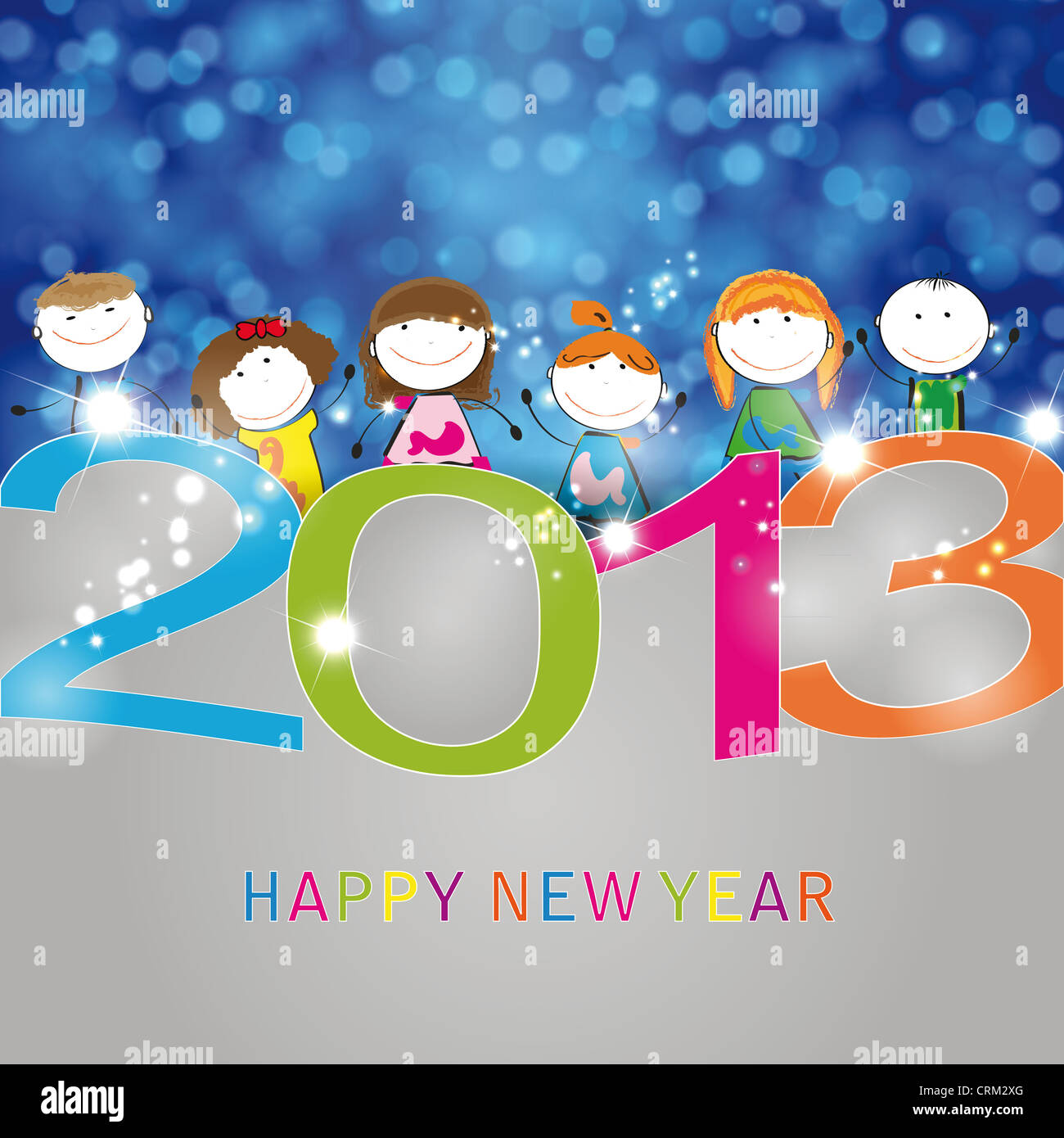 Concept card on New Year 2013 with happy kids - Stock Image