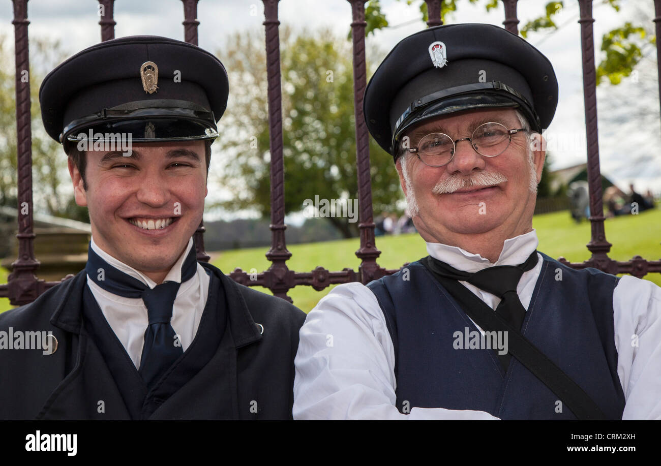 The Tram Driver and conductor, Beamish Open Air Museum, County Durham - Stock Image