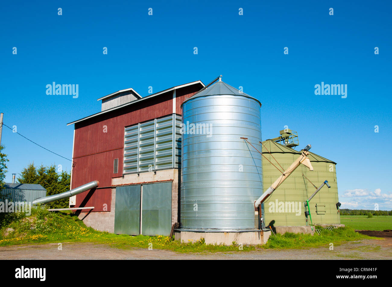 Agricultural silos used to bulk store grain Hyvelä district Pori Finland Europe - Stock Image