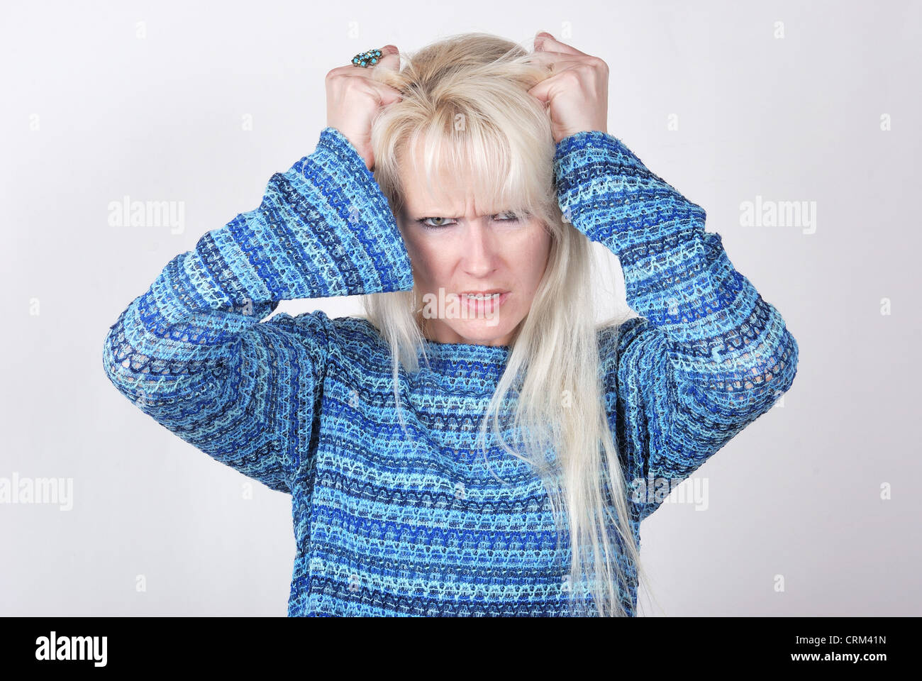 Portrait of a woman with a problem - Stock Image