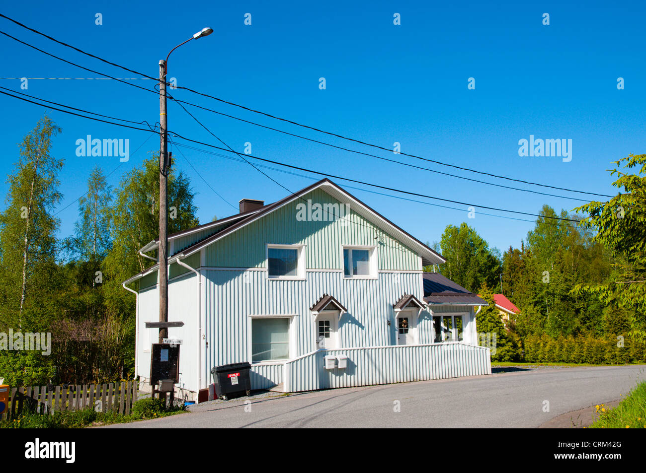 Refurbished traditional wooden house with new artificial surface coating Hyvelä district Pori Finland Europe - Stock Image