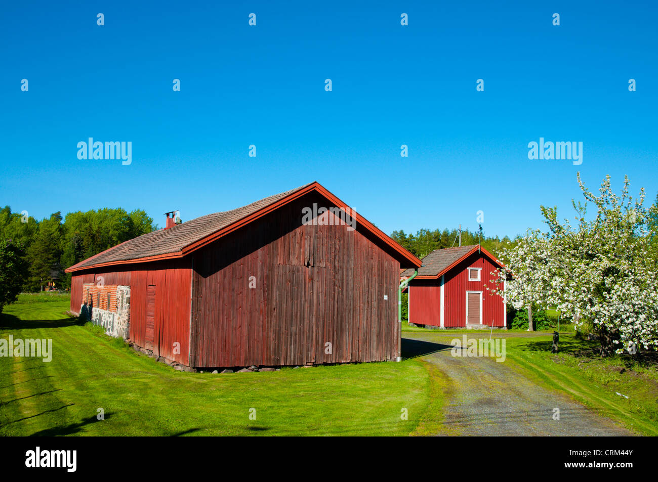 Wooden shed and storage buildings Hyvelä district Pori Finland Europe - Stock Image