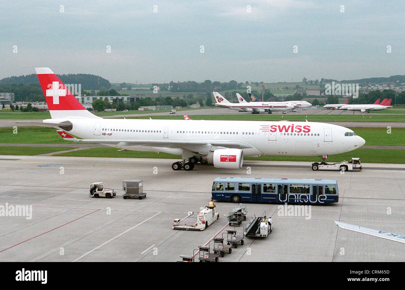 Swiss Air Lines plane taxiing to the runway - Stock Image
