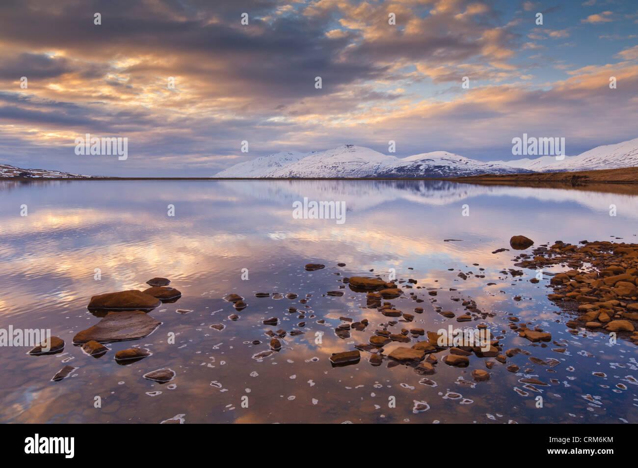 Sunset at Hjarlteyri Eyjafjordur near Akureyri north Iceland EU Europe - Stock Image