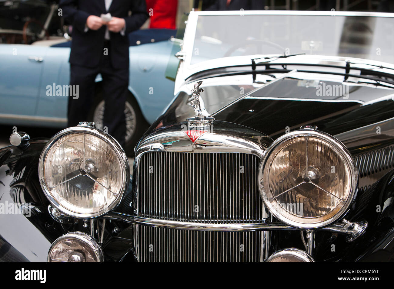 A 4.3 litre Alvis reproduction car parked outside Lloyds of London, UK. - Stock Image