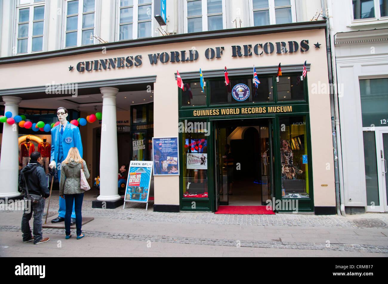 Guinness World of Records museum Stroget main pedestrian street Copenhagen Denmark Europe - Stock Image