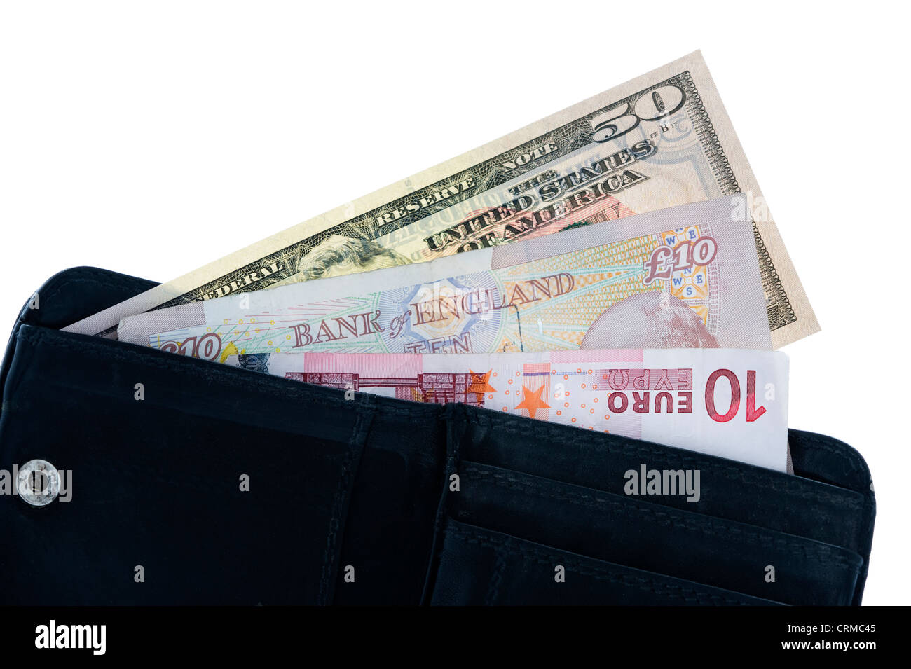 open wallet with dollar pound and euro notes isolated on white - Stock Image