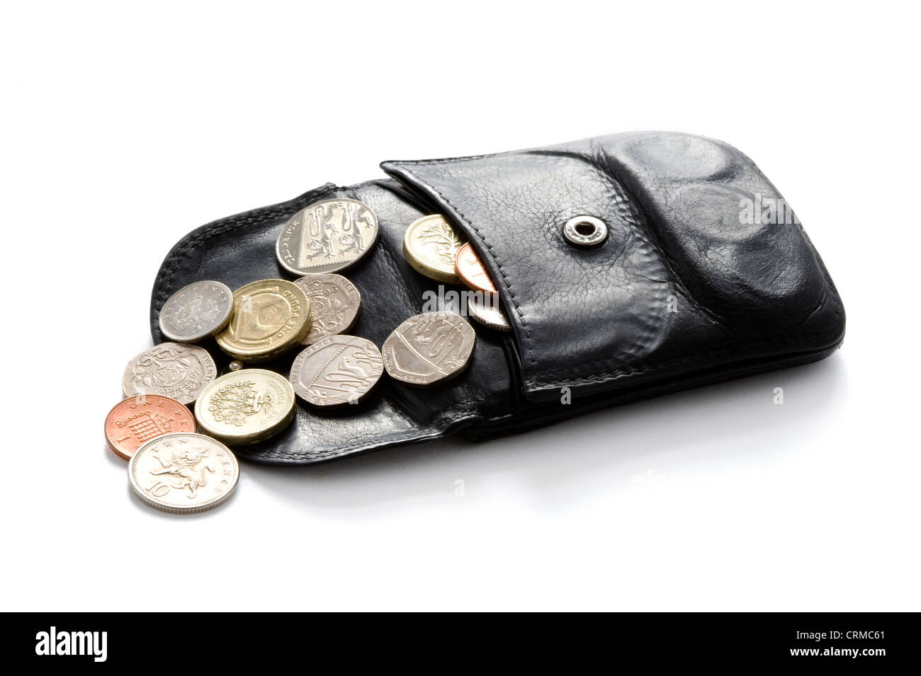 open wallet or purse with sterling coins isolated on white - Stock Image