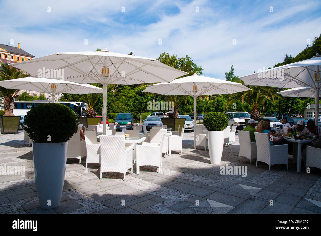 Grand Hotel Pupp cafe terrace Karlovy Vary spa town Czech Republic Europe - Stock Image