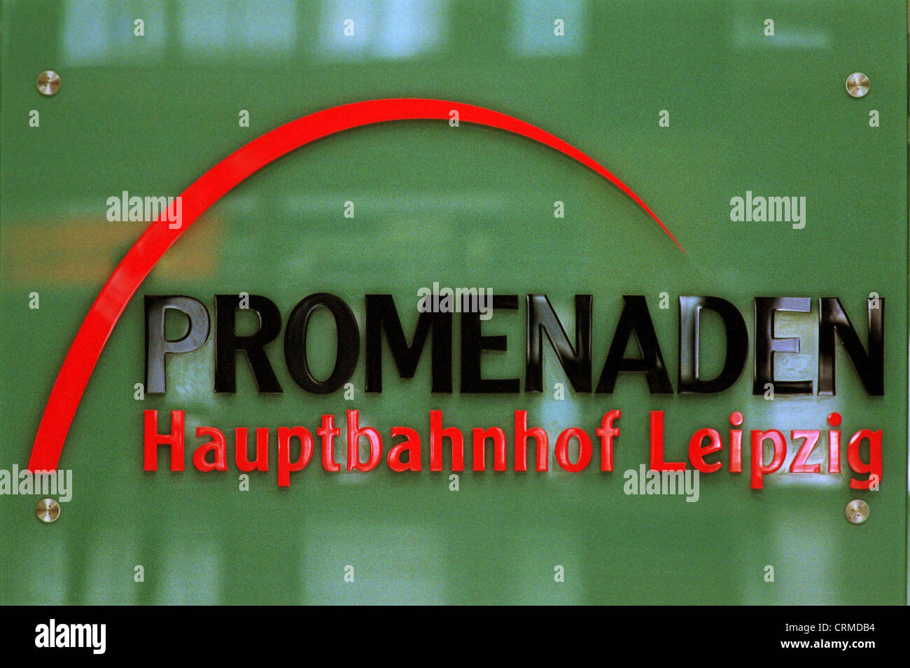 Logo of the promenades in Leipzig Hauptbahnhof - Stock Image