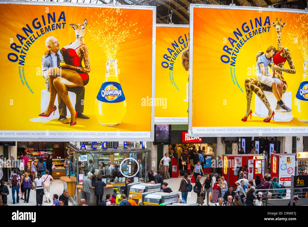 """Paris, France, High Angle View of, French Soft drink Advertising Billboards, Posters, in Train Station, """"Gare de Stock Photo"""